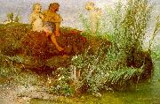 Arnold Bocklin Children Carving May Flutes oil